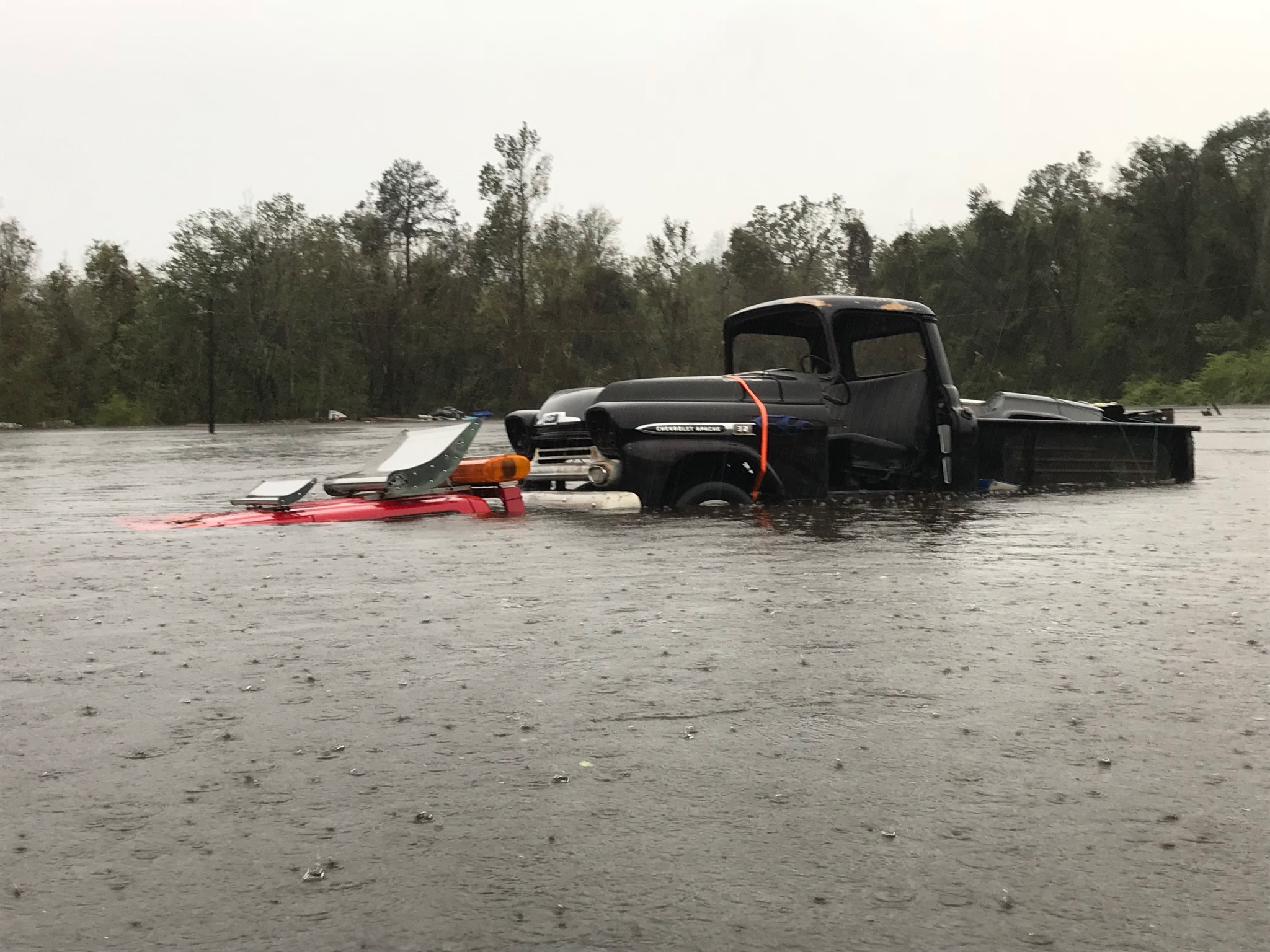 <div class='meta'><div class='origin-logo' data-origin='WTVD'></div><span class='caption-text' data-credit='ABC11 Eyewitness - Kaycie Burns'>A tow truck is stranded in the floodwaters of Jacksonville, N.C.</span></div>