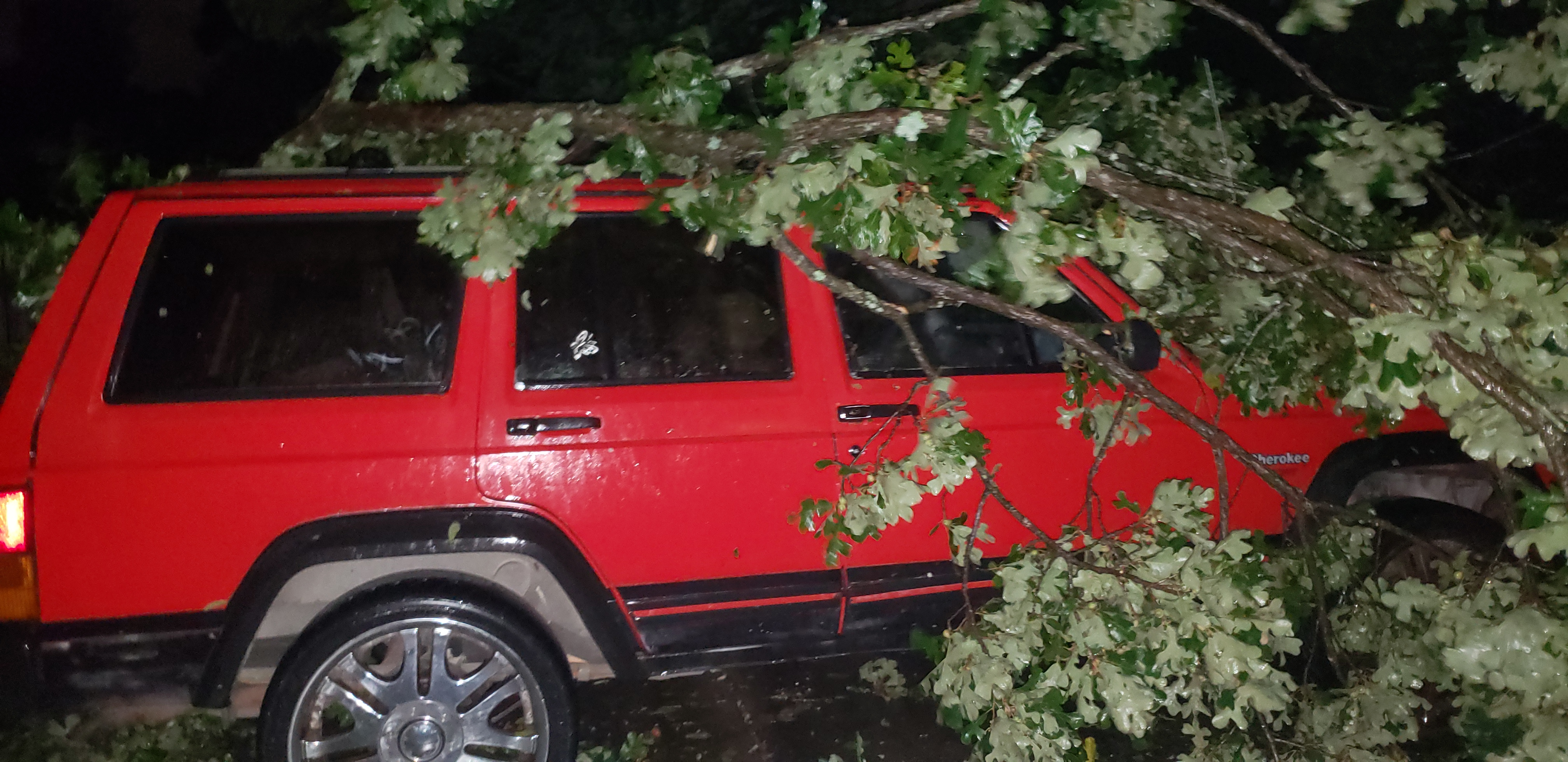 "<div class=""meta image-caption""><div class=""origin-logo origin-image wtvd""><span>WTVD</span></div><span class=""caption-text"">A tree fell on a Jeep and busted the tires on the left side and possibly broke the driver's door, according to the owner (ABC11 Eyewitness - Tonya jean)</span></div>"