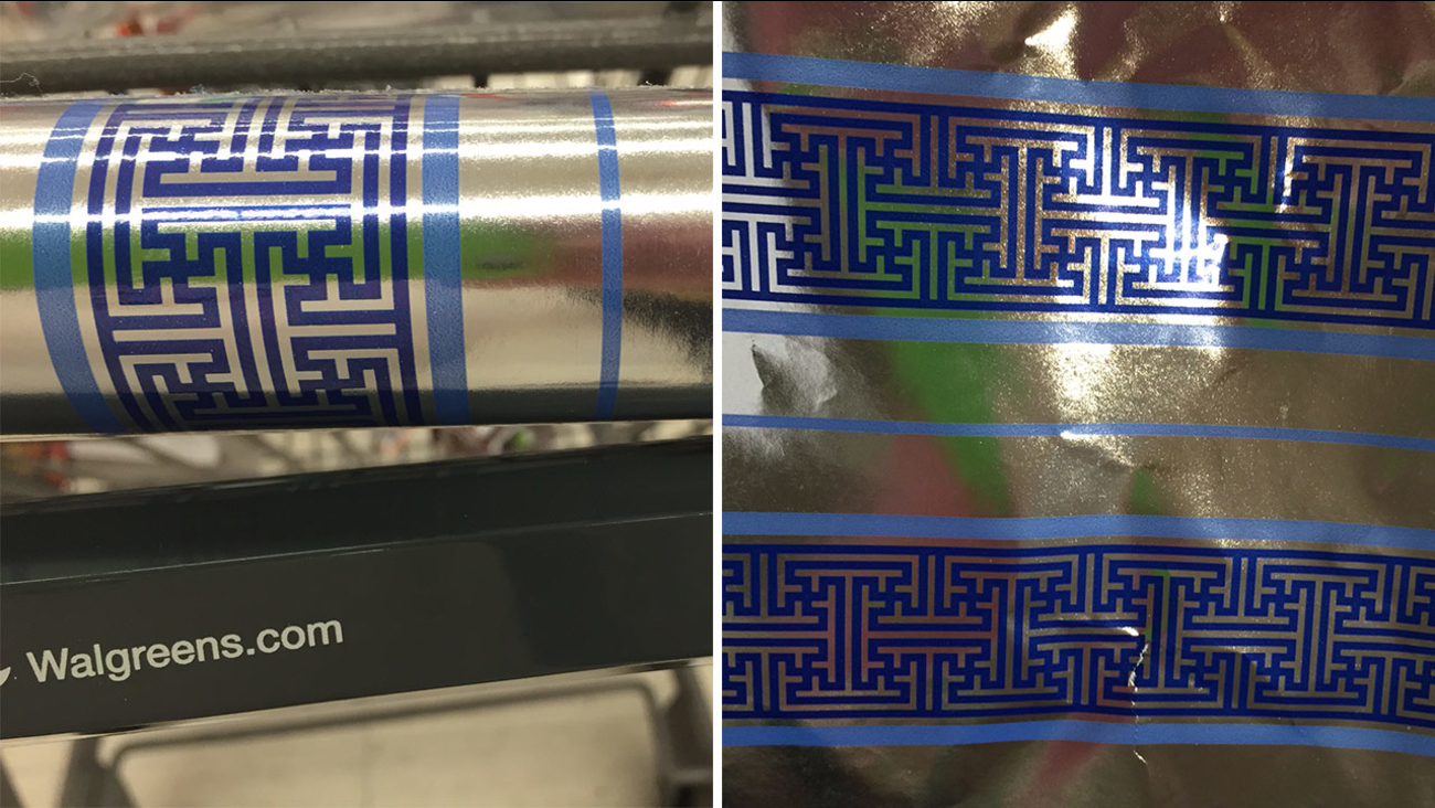 A Northridge woman was shocked to find what appeared to be swastikas on Hanukkah wrapping paper.