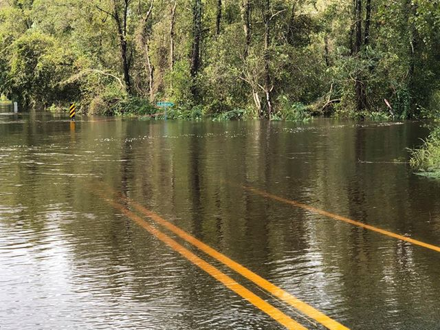 <div class='meta'><div class='origin-logo' data-origin='WTVD'></div><span class='caption-text' data-credit='ABC11 Eyewitness - Missy Chance'>Flooding on Wire Road at Anderson Road crossroads outside Fayetteville</span></div>