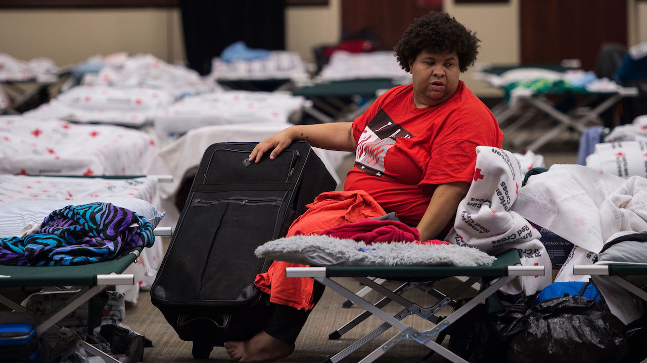 "<div class=""meta image-caption""><div class=""origin-logo origin-image wabc""><span>wabc</span></div><span class=""caption-text"">A woman waits inside an American Red Cross evacuation shelter in Chapel Hill, North Carolina on September 17, 2018. (Andrew Caballero-Reynolds/AFP/Getty Images)</span></div>"