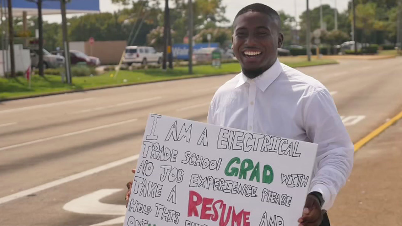 Houston Graduate Seeking Electrician Jobs Hands Out Resumes On The