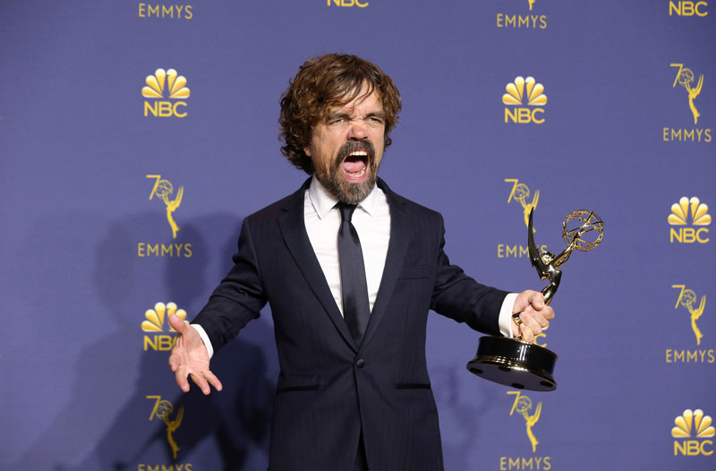 "<div class=""meta image-caption""><div class=""origin-logo origin-image ap""><span>AP</span></div><span class=""caption-text"">Peter Dinklage poses in the press room with the award for outstanding supporting actor in a drama series for ""Game of Thrones"" at the 70th Primetime Emmy Awards. (Photo by Willy Sanjuan/Invision for the Television Academy/AP Images)</span></div>"