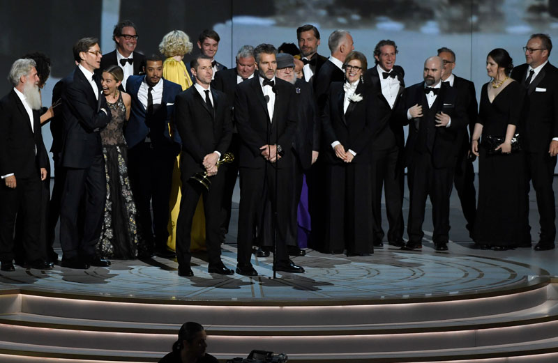"<div class=""meta image-caption""><div class=""origin-logo origin-image ap""><span>AP</span></div><span class=""caption-text"">David Benioff and the cast and crew of ""Game of Thrones"" accept the award for outstanding drama series at the 70th Primetime Emmy Awards. (Photo by Chris Pizzello/Invision/AP)</span></div>"
