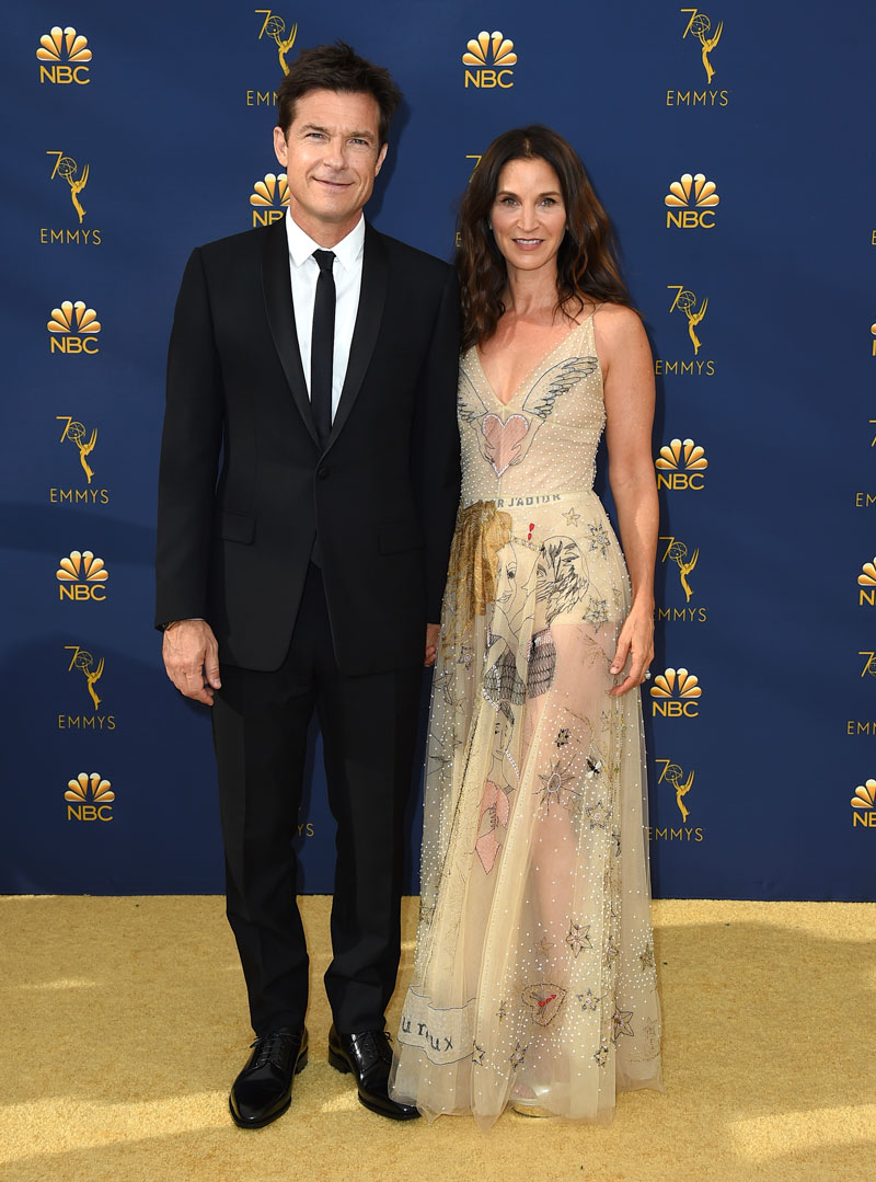 """<div class=""""meta image-caption""""><div class=""""origin-logo origin-image ap""""><span>AP</span></div><span class=""""caption-text"""">Jason Bateman, left, and Amanda Anka arrive at the 70th Primetime Emmy Awards on Monday, Sept. 17, 2018, at the Microsoft Theater in Los Angeles. (Photo by Jordan Strauss/Invision/AP)</span></div>"""
