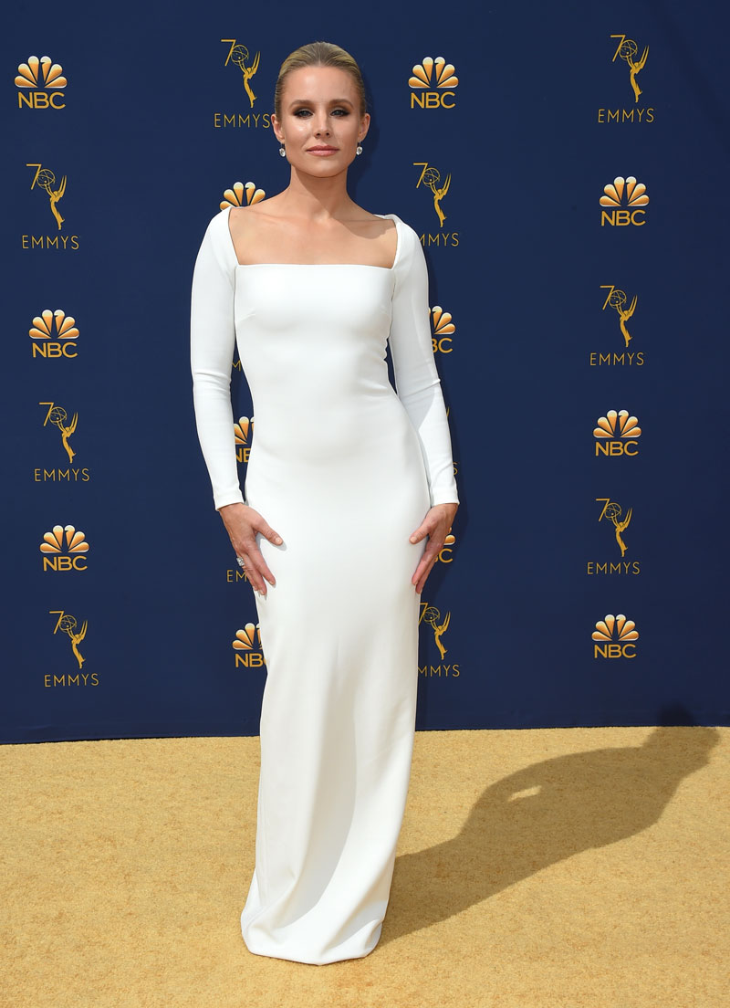 """<div class=""""meta image-caption""""><div class=""""origin-logo origin-image ap""""><span>AP</span></div><span class=""""caption-text"""">Kristen Bell arrives at the 70th Primetime Emmy Awards on Monday, Sept. 17, 2018, at the Microsoft Theater in Los Angeles. (Photo by Jordan Strauss/Invision/AP)</span></div>"""