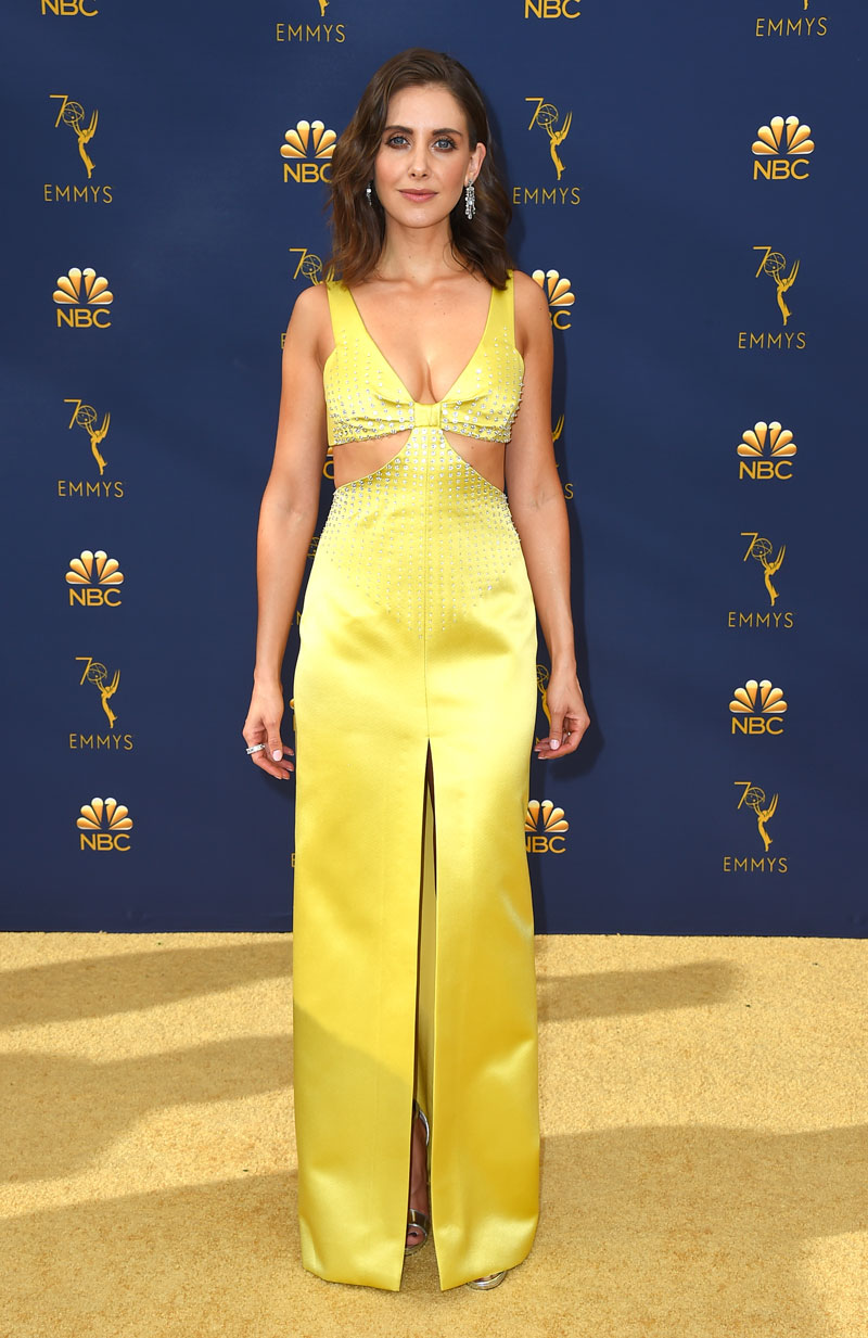 """<div class=""""meta image-caption""""><div class=""""origin-logo origin-image ap""""><span>AP</span></div><span class=""""caption-text"""">Alison Brie arrives at the 70th Primetime Emmy Awards on Monday, Sept. 17, 2018, at the Microsoft Theater in Los Angeles. (Photo by Jordan Strauss/Invision/AP)</span></div>"""