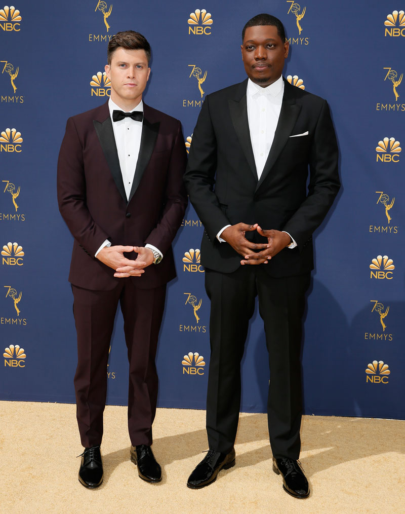 """<div class=""""meta image-caption""""><div class=""""origin-logo origin-image ap""""><span>AP</span></div><span class=""""caption-text"""">Colin Jost, left, and Michael Che arrive at the 70th Primetime Emmy Awards on Monday, Sept. 17, 2018, at the Microsoft Theater in Los Angeles. (Photo by Danny Moloshok/Invision for the Television Academy/AP Images)</span></div>"""