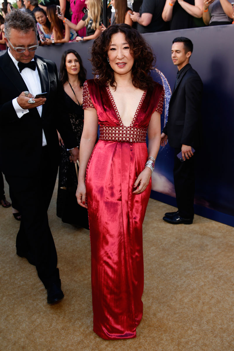 """<div class=""""meta image-caption""""><div class=""""origin-logo origin-image ap""""><span>AP</span></div><span class=""""caption-text"""">Sandra Oh arrives at the 70th Primetime Emmy Awards on Monday, Sept. 17, 2018, at the Microsoft Theater in Los Angeles. (Photo by Eric Jamison/Invision for the Television Academy/AP Images)</span></div>"""
