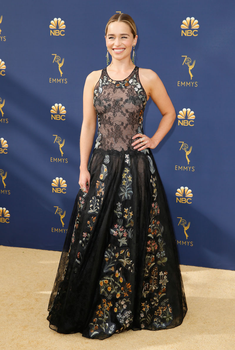 """<div class=""""meta image-caption""""><div class=""""origin-logo origin-image ap""""><span>AP</span></div><span class=""""caption-text"""">Emilia Clarke arrives at the 70th Primetime Emmy Awards on Monday, Sept. 17, 2018, at the Microsoft Theater in Los Angeles. (Photo by Danny Moloshok/Invision for the Television Academy/AP Images)</span></div>"""