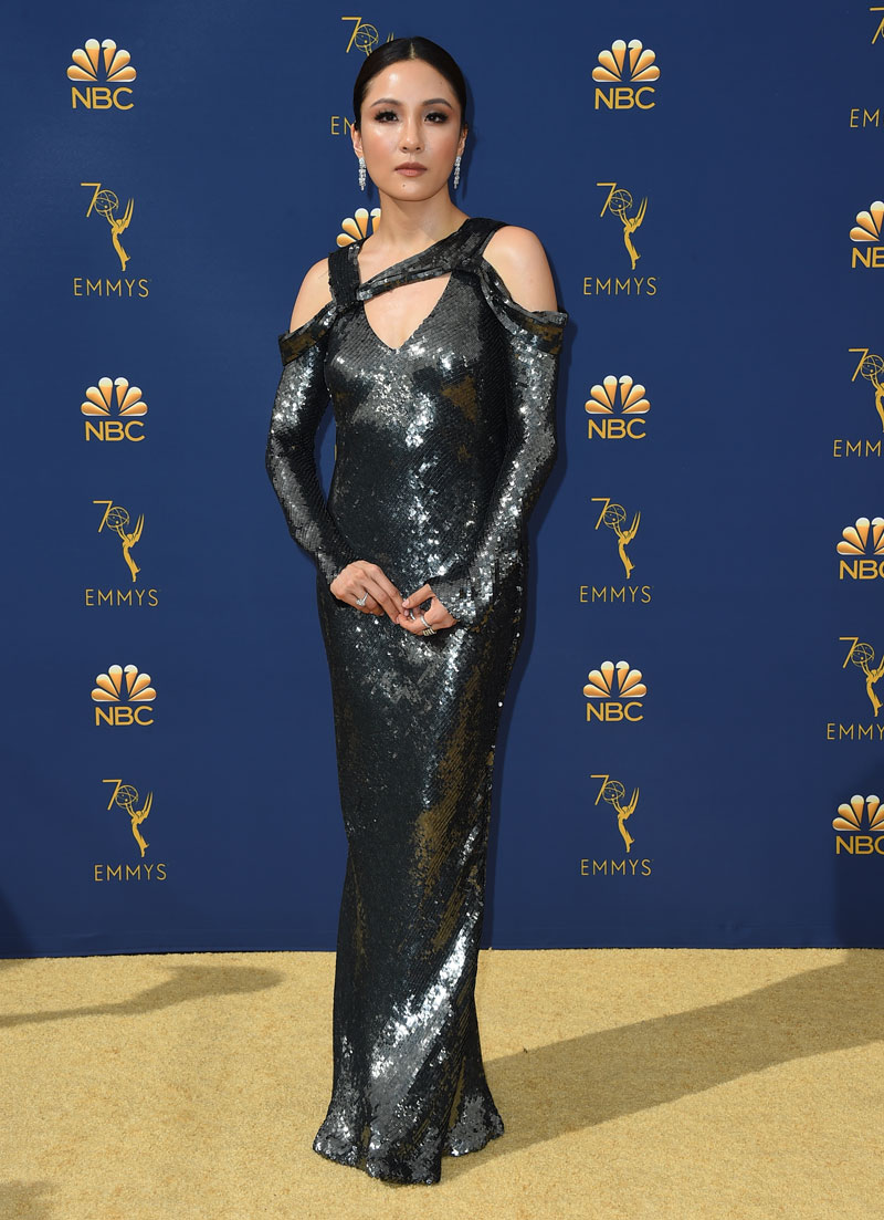 """<div class=""""meta image-caption""""><div class=""""origin-logo origin-image ap""""><span>AP</span></div><span class=""""caption-text"""">Constance Wu arrives at the 70th Primetime Emmy Awards on Monday, Sept. 17, 2018, at the Microsoft Theater in Los Angeles. (Photo by Jordan Strauss/Invision/AP)</span></div>"""