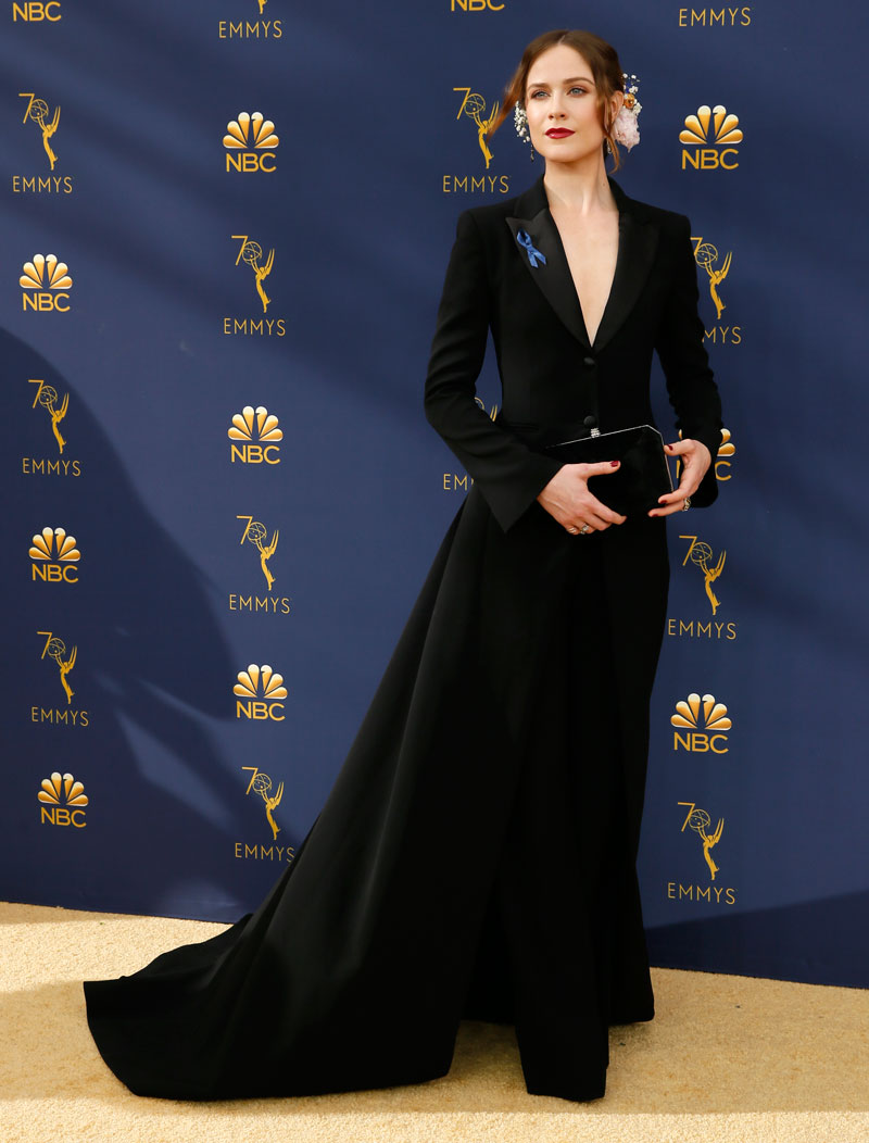 """<div class=""""meta image-caption""""><div class=""""origin-logo origin-image ap""""><span>AP</span></div><span class=""""caption-text"""">Evan Rachel Wood arrives at the 70th Primetime Emmy Awards on Monday, Sept. 17, 2018, at the Microsoft Theater in Los Angeles. (Photo by Danny Moloshok/Invision for the Television Academy/AP Images)</span></div>"""