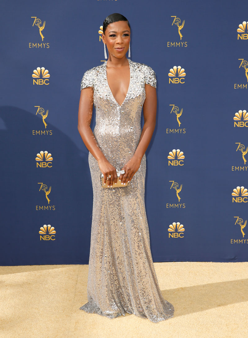 """<div class=""""meta image-caption""""><div class=""""origin-logo origin-image ap""""><span>AP</span></div><span class=""""caption-text"""">Samira Wiley arrives at the 70th Primetime Emmy Awards on Monday, Sept. 17, 2018, at the Microsoft Theater in Los Angeles. (Photo by Danny Moloshok/Invision for the Television Academy/AP Images)</span></div>"""