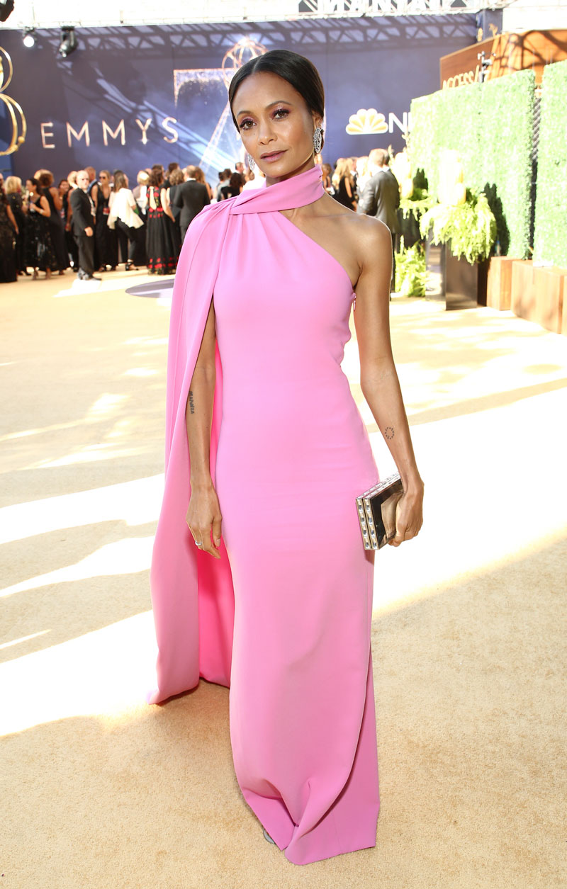 """<div class=""""meta image-caption""""><div class=""""origin-logo origin-image ap""""><span>AP</span></div><span class=""""caption-text"""">Thandie Newton arrives at the 70th Primetime Emmy Awards on Monday, Sept. 17, 2018, at the Microsoft Theater in Los Angeles. (Photo by John Salangsang/Invision for the Television Academy/AP Images)</span></div>"""