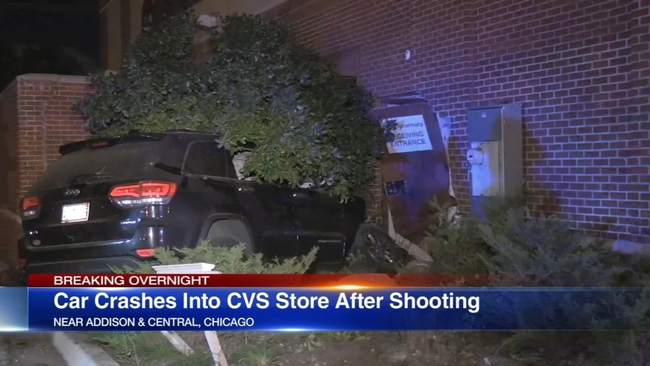 jeep crashes into portage park cvs after shooting 2 injured