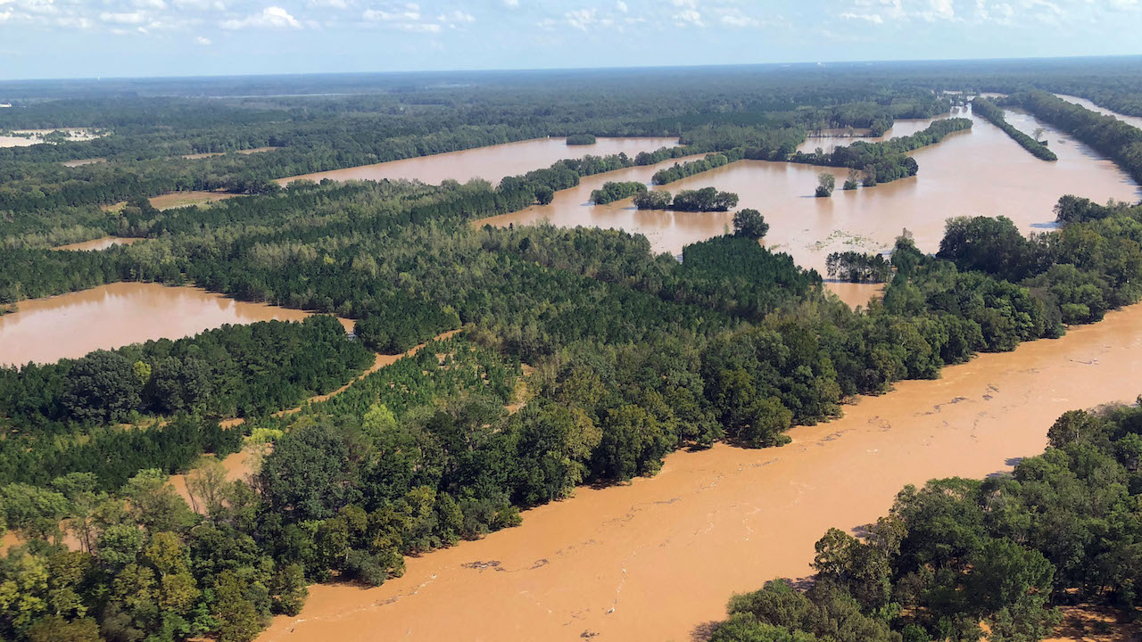 <div class='meta'><div class='origin-logo' data-origin='AP'></div><span class='caption-text' data-credit='AP Photo/Meg Kinnard'>This Monday, Sept. 17, 2018 photo shows rising flood waters in the Pee Dee area in Marion County, S.C.</span></div>
