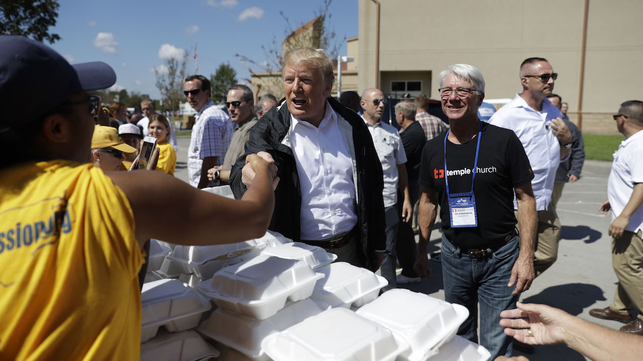 "<div class=""meta image-caption""><div class=""origin-logo origin-image ap""><span>AP</span></div><span class=""caption-text"">President Donald Trump visits the Temple Baptist Church, where food and other supplies are being distributed during Hurricane Florence recovery efforts, Wednesday, Sept. 19, 2018. (AP Photo/Evan Vucci)</span></div>"