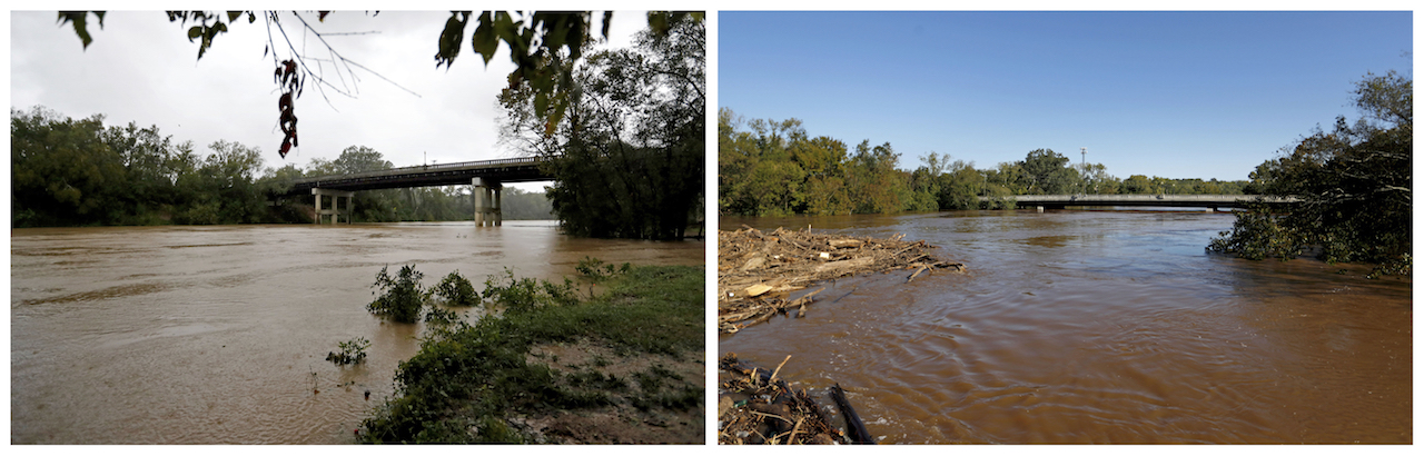 <div class='meta'><div class='origin-logo' data-origin='AP'></div><span class='caption-text' data-credit='AP Photo/David Goldman'>In this combination of photos, Cape Fear River flows under the Person Street bridge on Sept. 15, 2018, left, and on Sept. 19, 2018, in the aftermath of Hurricane Florence.</span></div>