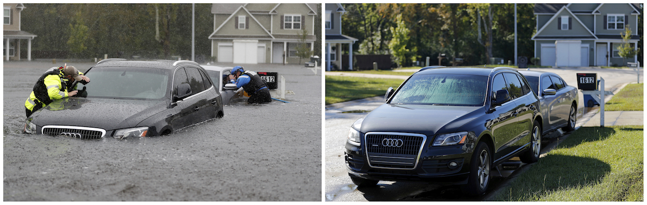 <div class='meta'><div class='origin-logo' data-origin='AP'></div><span class='caption-text' data-credit='AP Photo/David Goldman'>This combination of photos shows the North Carolina Task Force urban search and rescue team on Sept. 16, 2018, left, and on Sept. 19, 2018, in Fayetteville, N.C.</span></div>