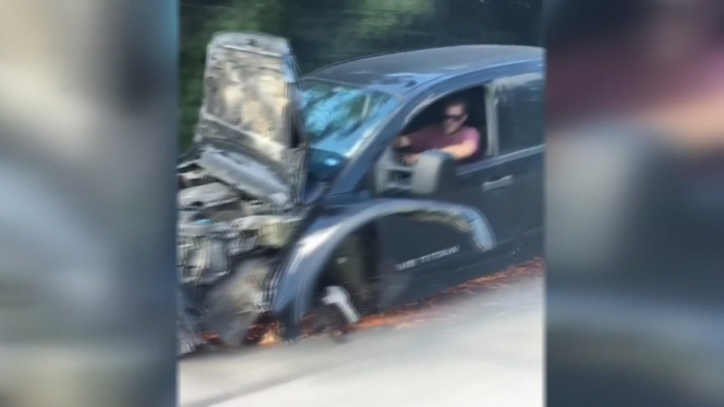Watch: Badly damaged pickup truck drives with three wheels