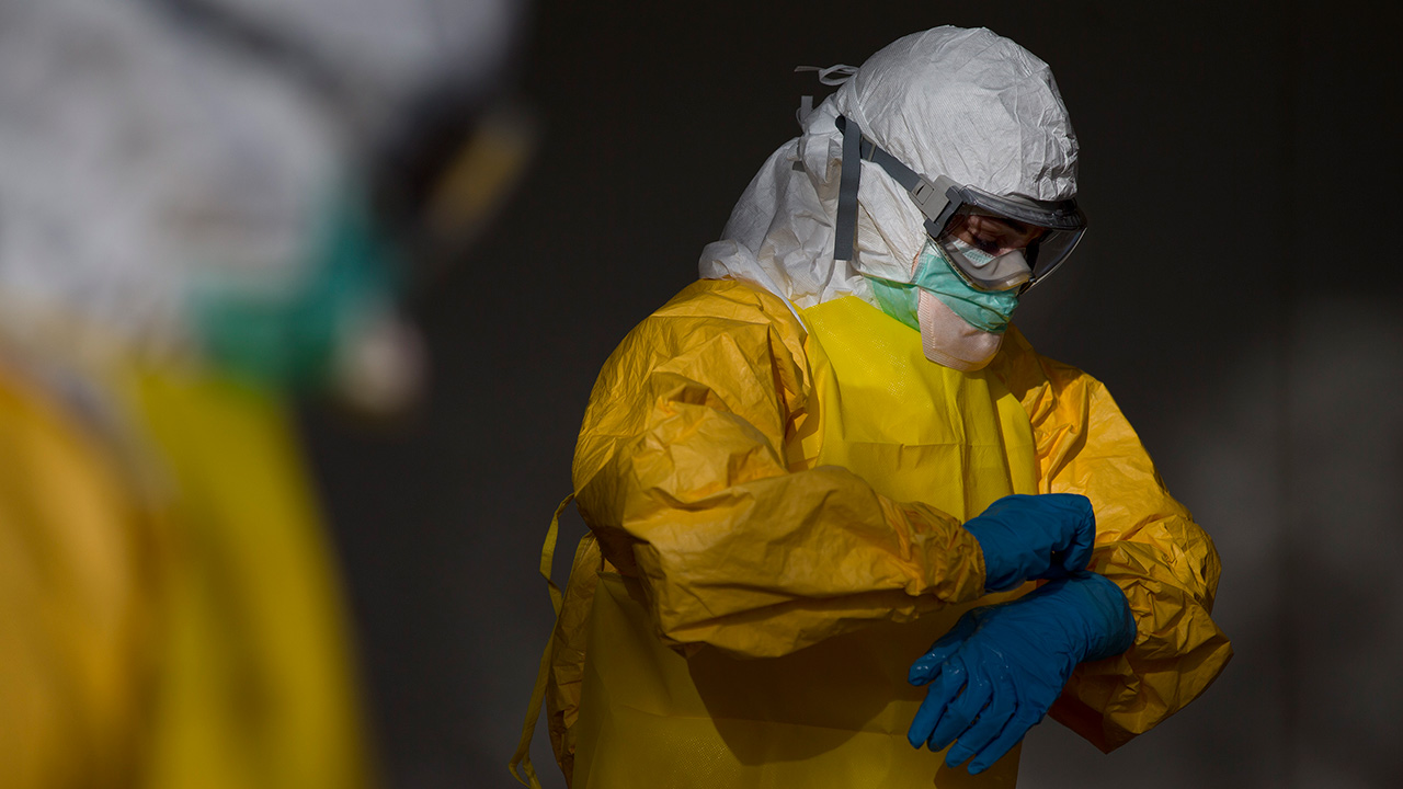 Health care worker wearing Ebola gear
