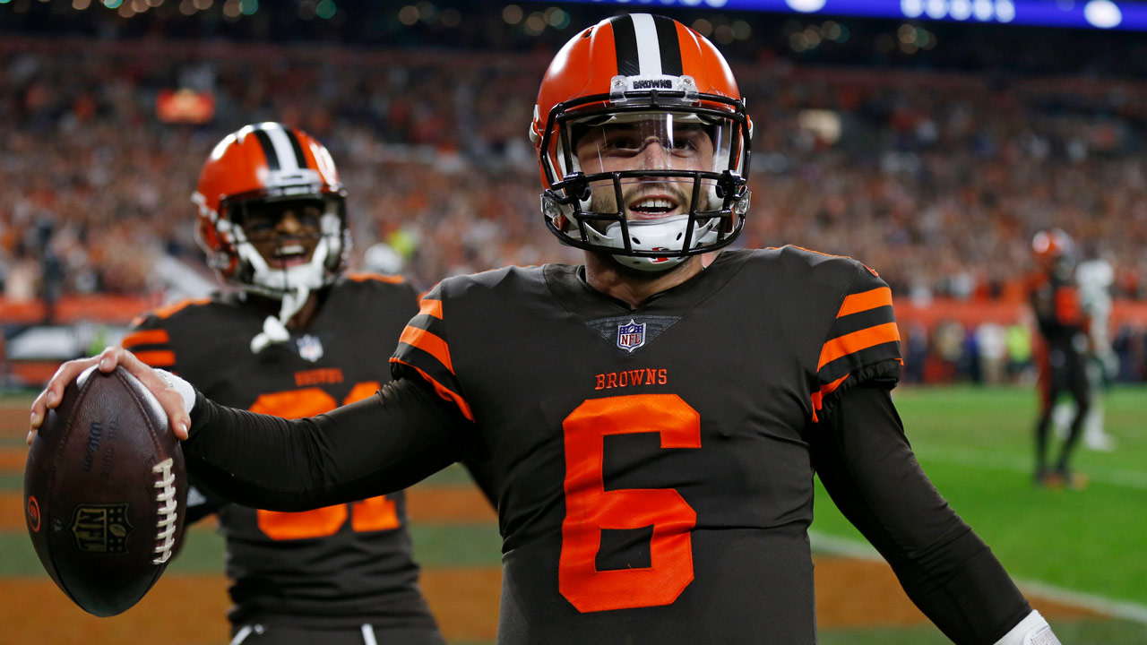 Cleveland Browns quarterback Baker Mayfield celebrates after scoring a  2-point conversion during the second half of an NFL football game against  the New ... ff240d712