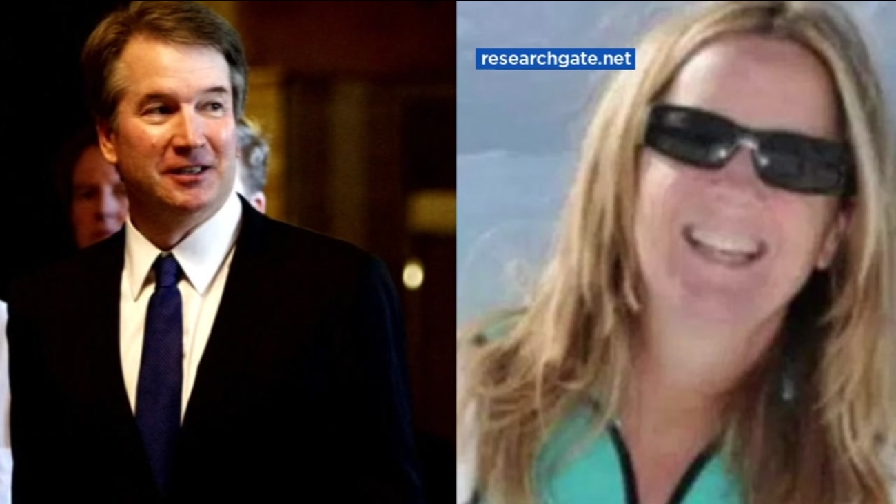 This is an undated split image of Brett Kavanaugh and Dr. Christine Blasey Ford.