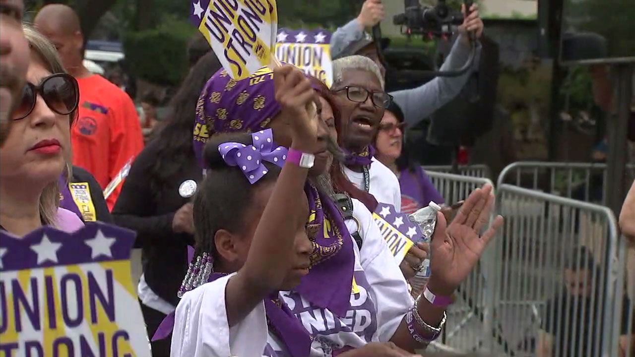 Los Angeles County workers rally for fair contracts in downtown LA