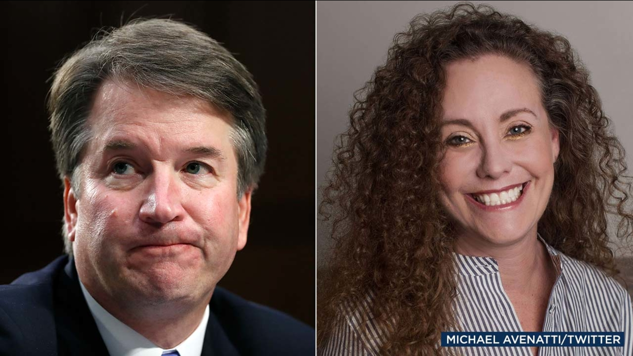(Left: AP) Brett Kavanaugh speaks before the Senate Judiciary Committee Sept. 6, 2018. (Right) Michael Avenatti tweeted this photo of his client, identifying her as Julie Swetnick.