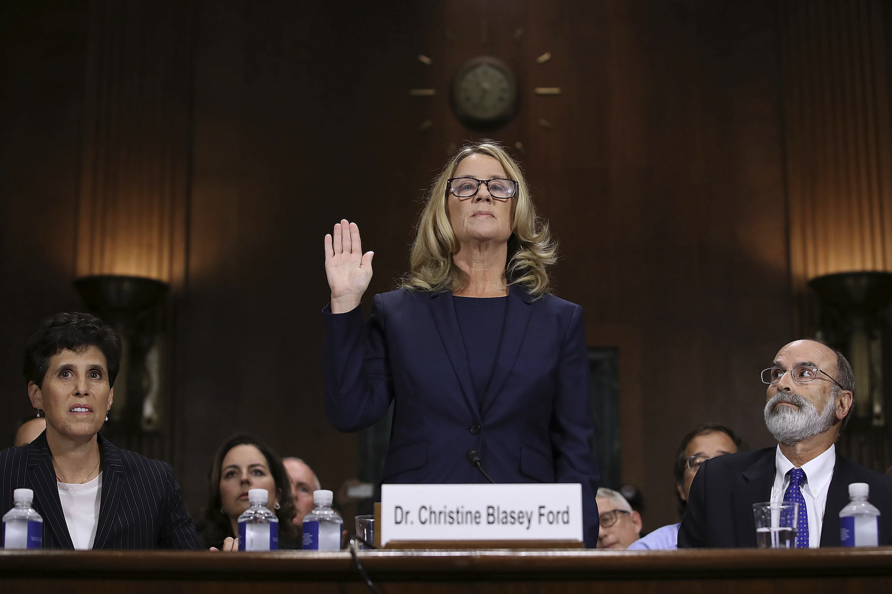 "<div class=""meta image-caption""><div class=""origin-logo origin-image ap""><span>AP</span></div><span class=""caption-text"">Christine Blasey Ford is sworn in before the Senate Judiciary Committee, Thursday, Sept. 27, 2018 in Washington. Her attorneys Debra Katz and Michael Bromwich watch. (Win McNamee/Pool Image via AP)</span></div>"