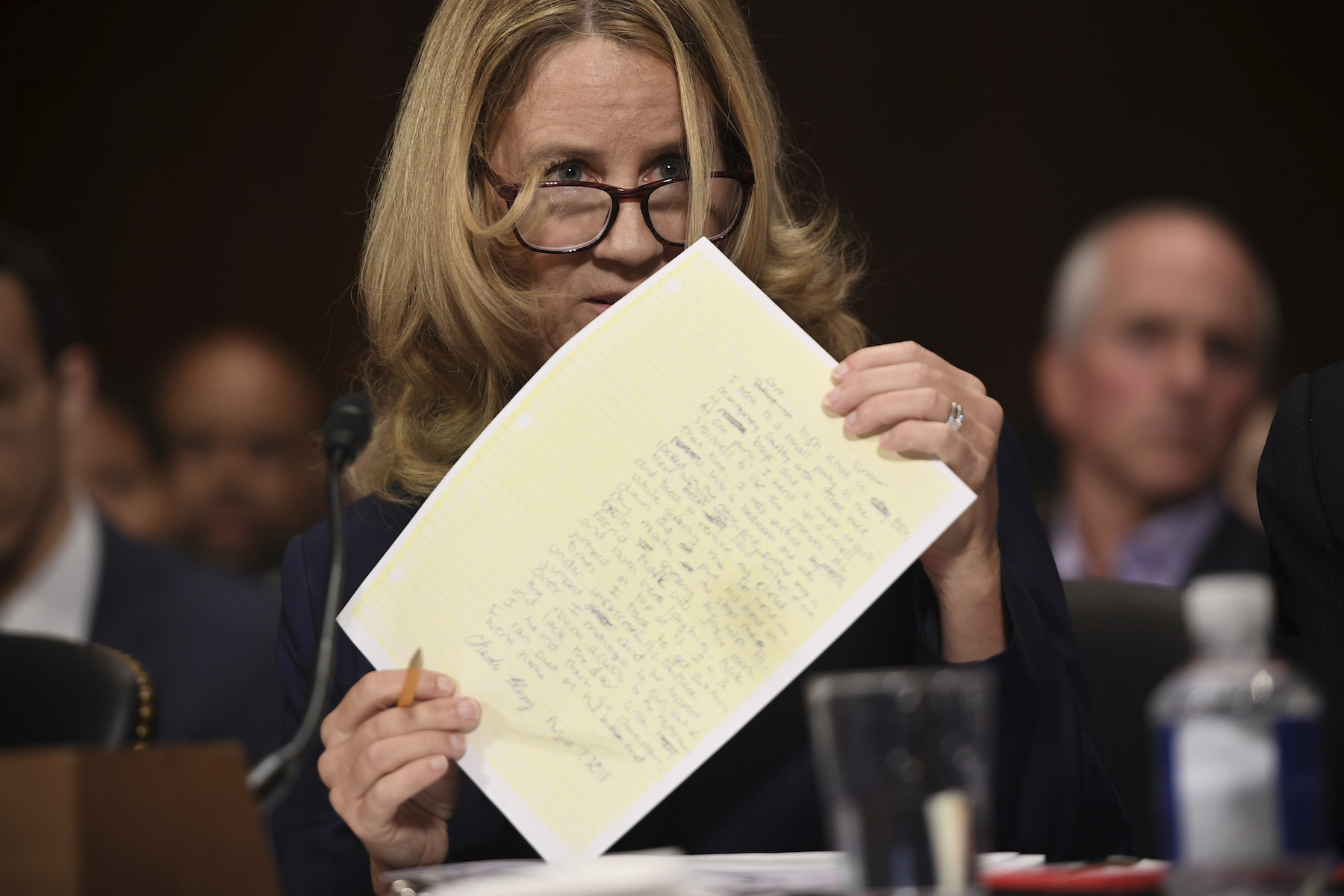 "<div class=""meta image-caption""><div class=""origin-logo origin-image ap""><span>AP</span></div><span class=""caption-text"">Christine Blasey Ford testifies to the Senate Judiciary Committee on Capitol Hill in Washington, Thursday, Sept. 27, 2018. (Saul Loeb/Pool Photo via AP)</span></div>"
