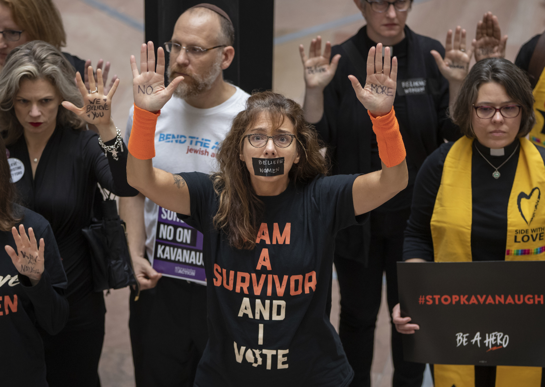"<div class=""meta image-caption""><div class=""origin-logo origin-image ap""><span>AP</span></div><span class=""caption-text"">Womens' rights activists demonstrate in the Hart Senate Office Building as the Senate Judiciary Committee hears from Supreme Court nominee Brett Kavanaugh and Christine Blasey Ford (AP Photo/J. Scott Applewhite)</span></div>"