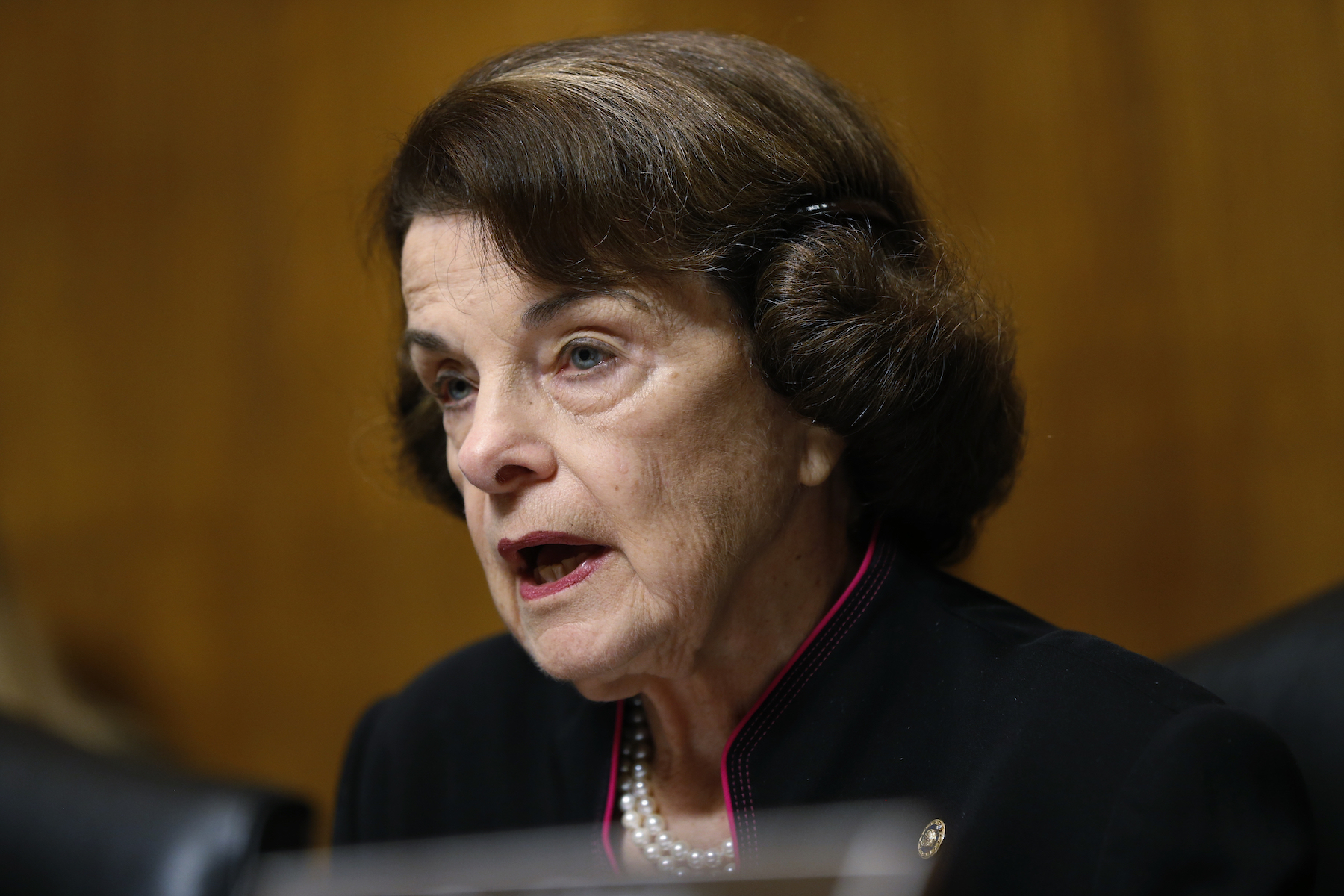 "<div class=""meta image-caption""><div class=""origin-logo origin-image ap""><span>AP</span></div><span class=""caption-text"">Senator Dianna Feinstein peaks at the Senate Judiciary Committee hearing on the nomination of Brett Kavanaugh to be an associate justice of the Supreme Court of the United States. (AP)</span></div>"