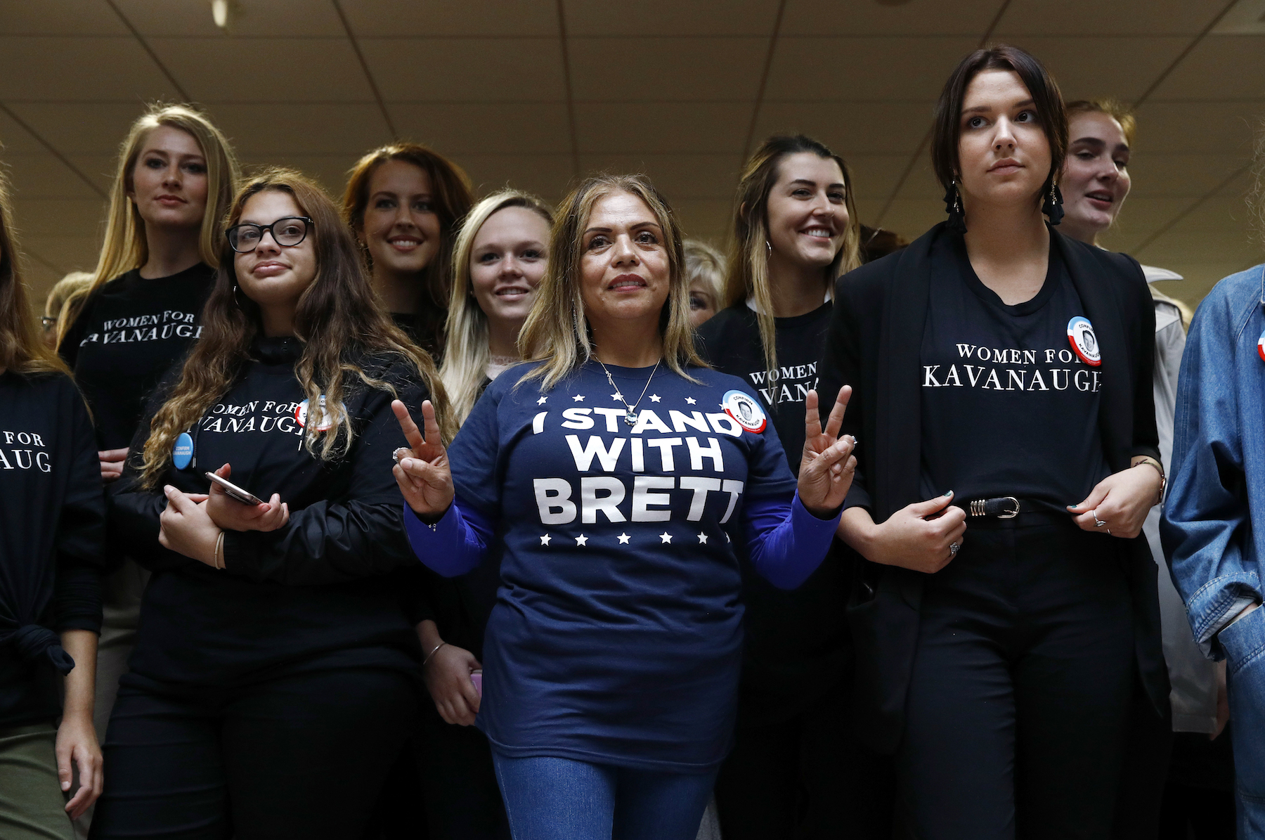 "<div class=""meta image-caption""><div class=""origin-logo origin-image ap""><span>AP</span></div><span class=""caption-text"">Supporters of Supreme Court nominee Brett Kavanaugh gather inside the Hart Senate Office Building on Capitol Hill in Washington, Thursday, Sept. 27, 2018. (AP Photo/Patrick Semansky)</span></div>"