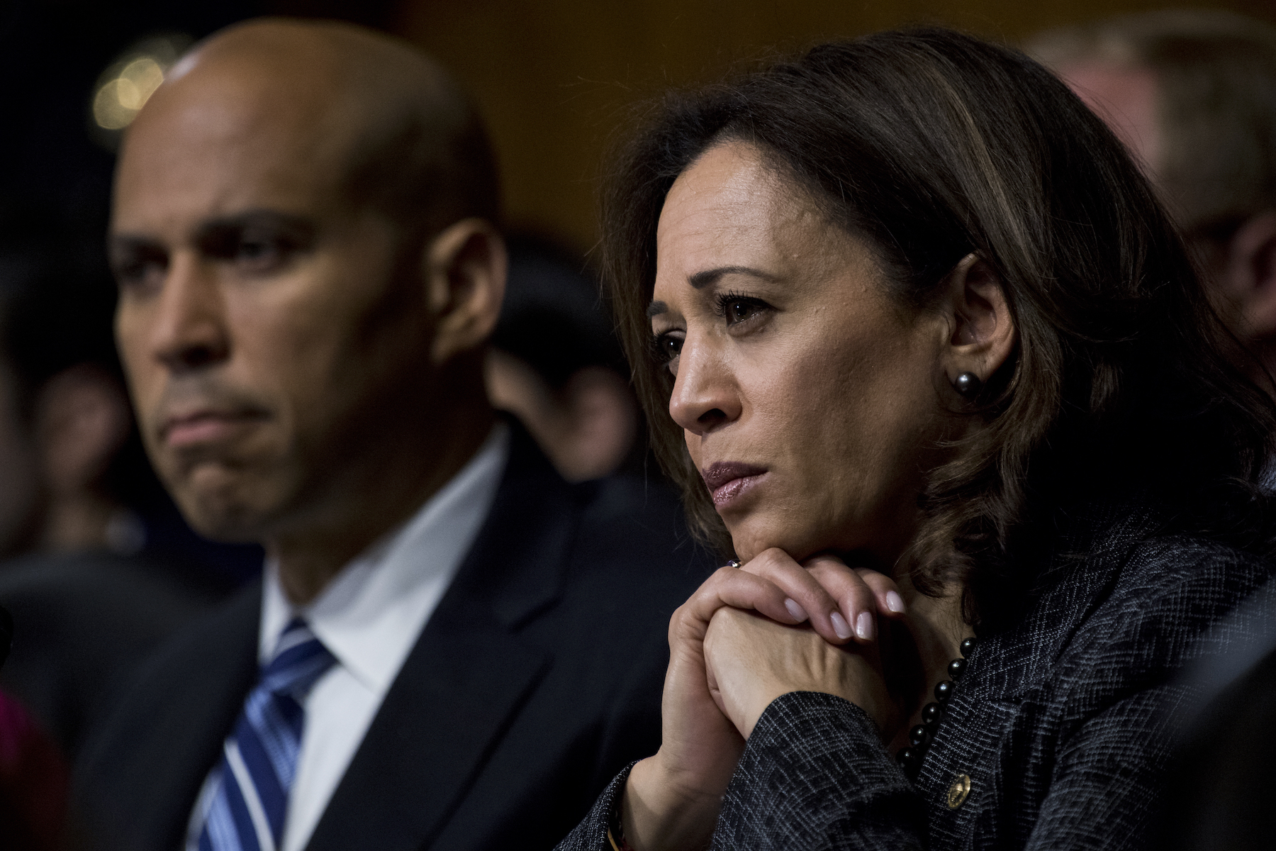 "<div class=""meta image-caption""><div class=""origin-logo origin-image ap""><span>AP</span></div><span class=""caption-text"">Sen. Cory Booker and Sen. Kamala Harris listen as  Dr. Christine Blasey Ford testifies during the Senate Judiciary Committee hearing on the nomination of Brett M. Kavanaugh (Tom Williams/CQ Roll Call/Pool)</span></div>"