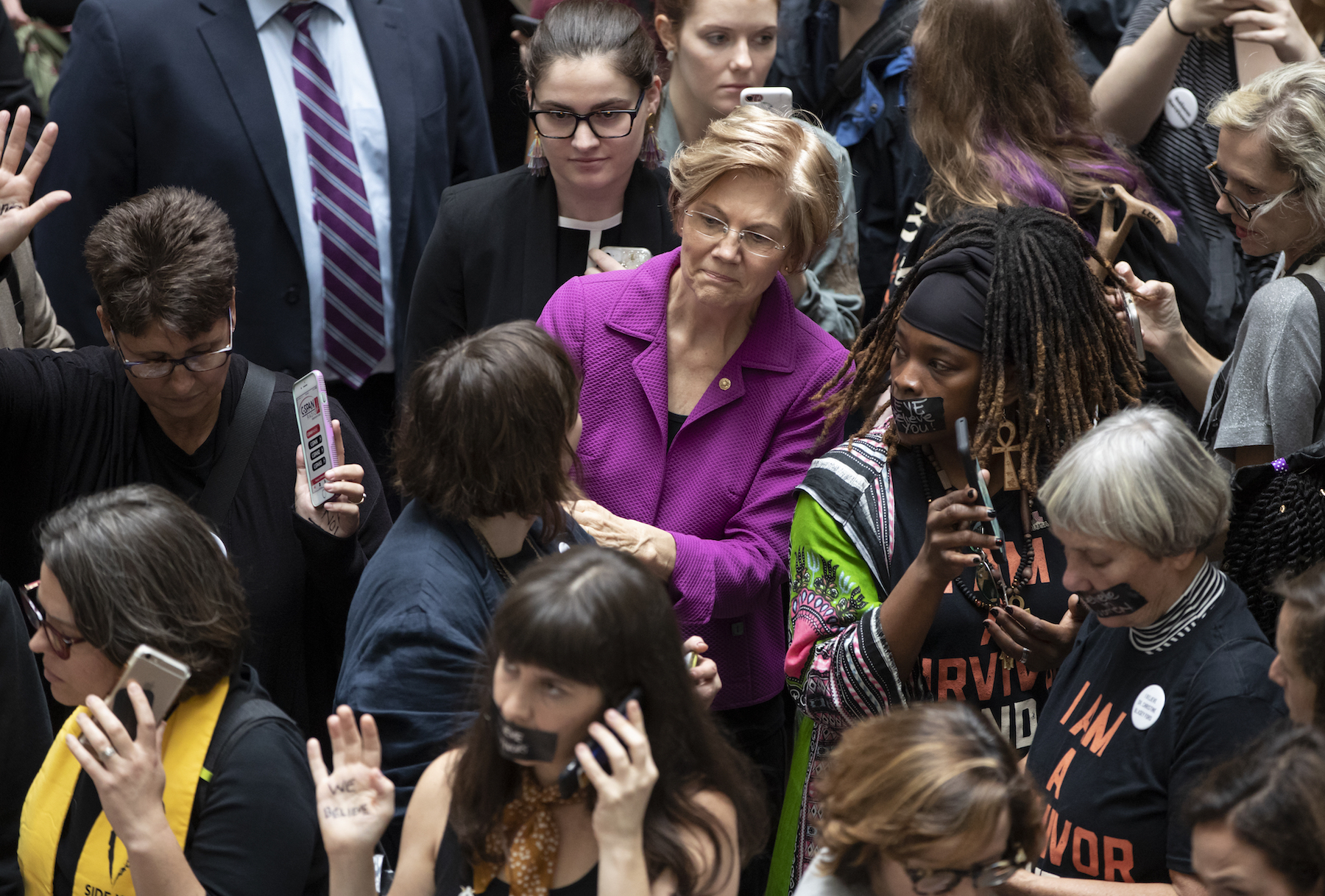 "<div class=""meta image-caption""><div class=""origin-logo origin-image ap""><span>AP</span></div><span class=""caption-text"">Sen. Elizabeth Warren, D-Mass., a vocal critic of Supreme Court nominee Brett Kavanaugh over the sexual harassment allegations made against him, greets womens' rights activists. (AP Photo/J. Scott Applewhite)</span></div>"