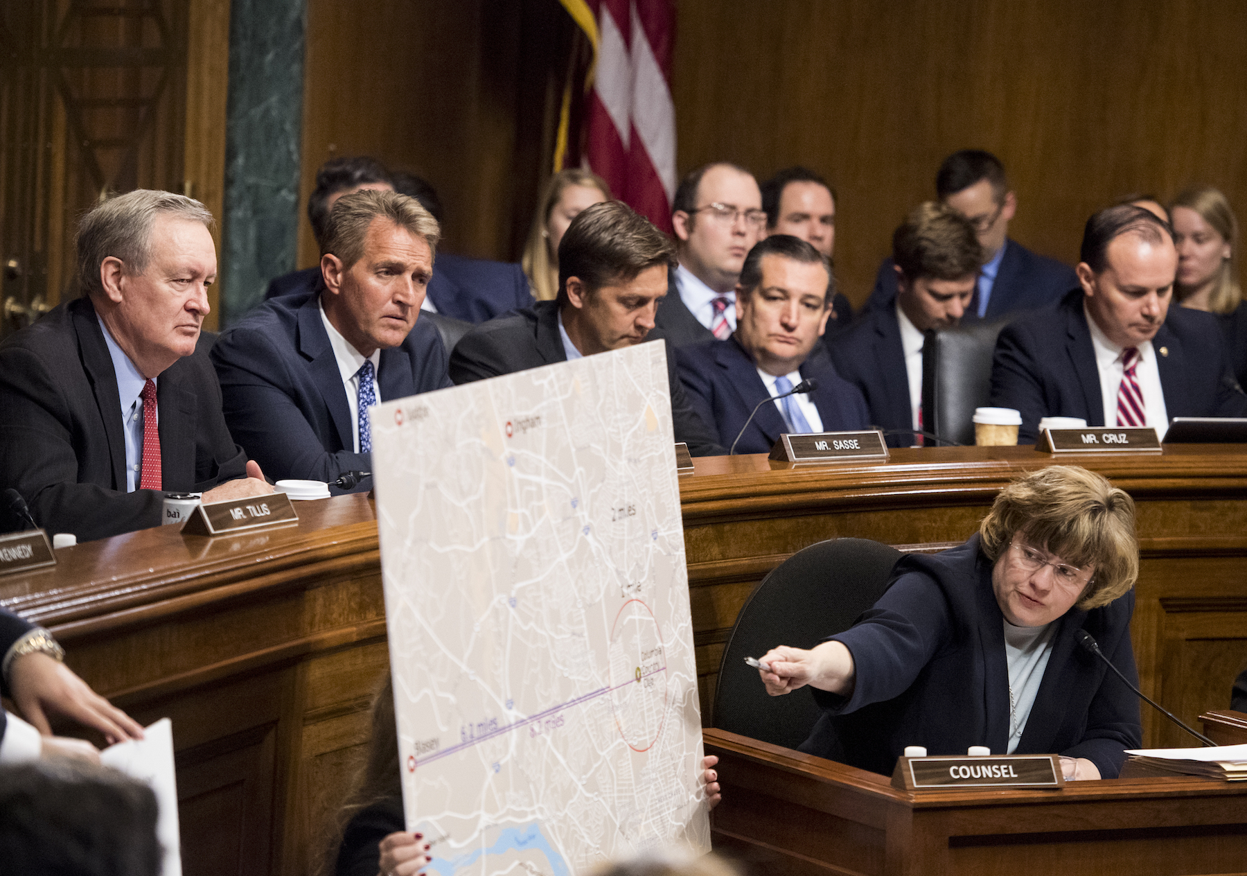 "<div class=""meta image-caption""><div class=""origin-logo origin-image ap""><span>AP</span></div><span class=""caption-text"">Phoenix prosecutor Rachel Mitchell points to a map as she questions to Christine Blasey Ford at the Senate Judiciary Committee hearing. (Tom Williams/Pool Image via AP)</span></div>"