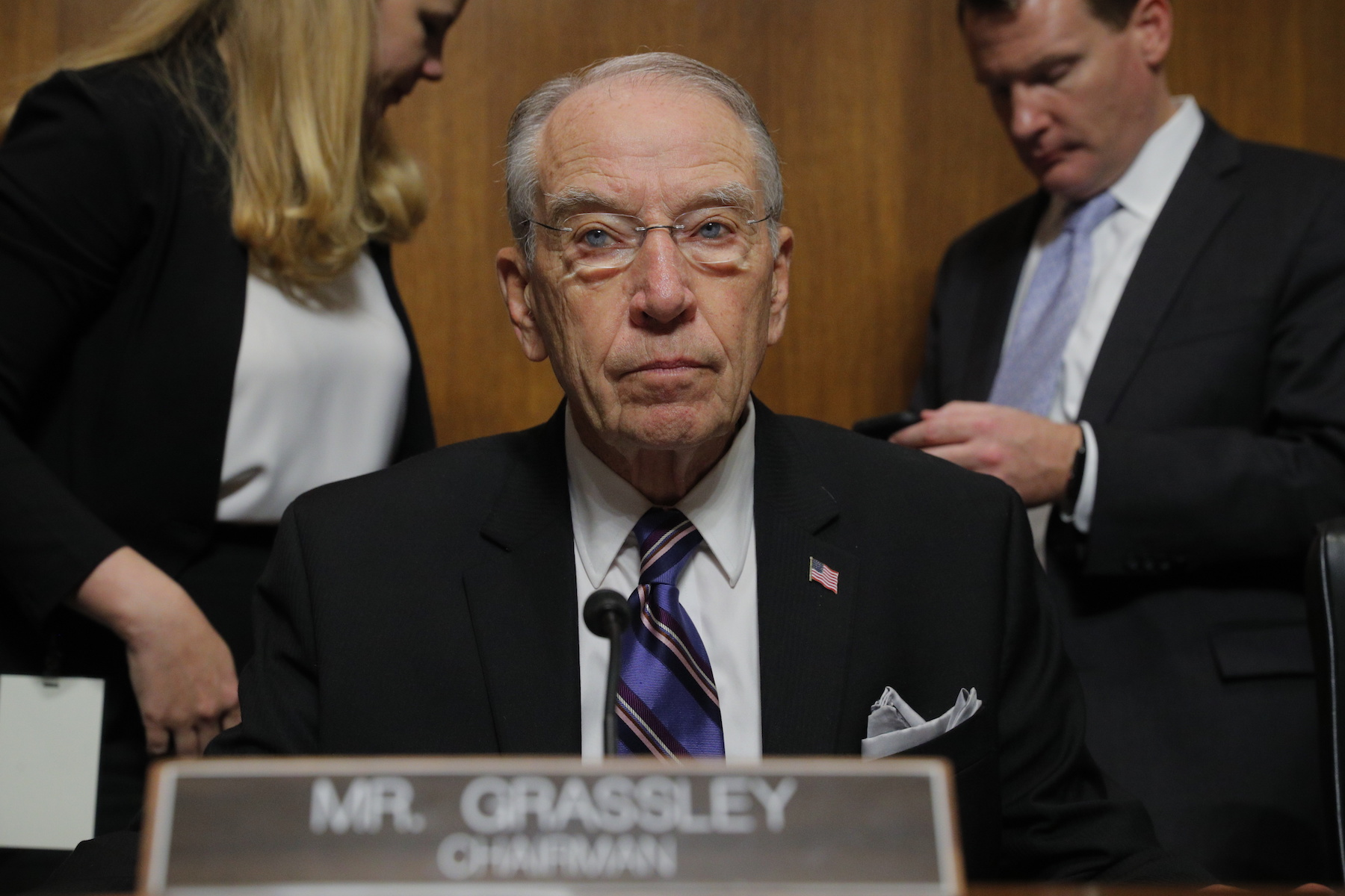 "<div class=""meta image-caption""><div class=""origin-logo origin-image ap""><span>AP</span></div><span class=""caption-text"">Senate Judiciary Committee Chairman Chuck Grassley, R-Iowa, looks on during a break in a confirmation hearing of the Senate Judiciary Committee, Thursday, Sept. 27, 2018. (Jim Bourg/Pool Image via AP)</span></div>"