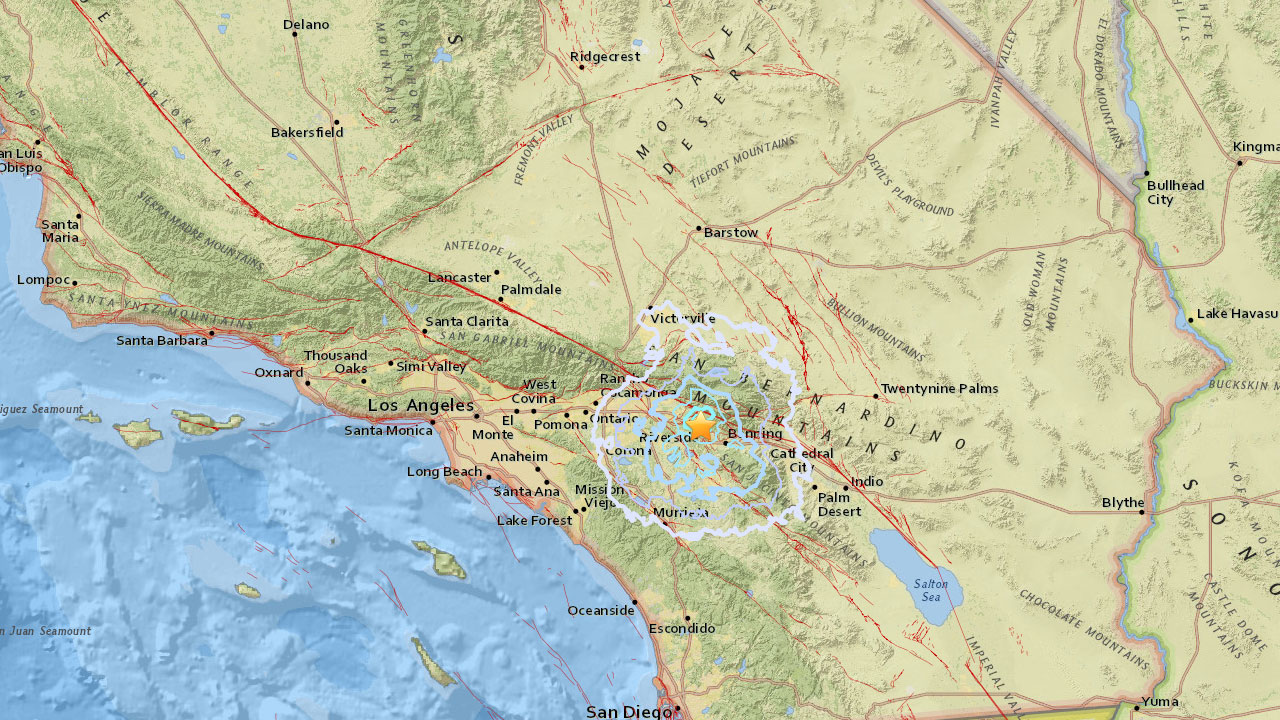 A preliminary-magnitude 3.6 earthquake shook the Calimesa area on Sunday, according to the U.S. Geological Survey.