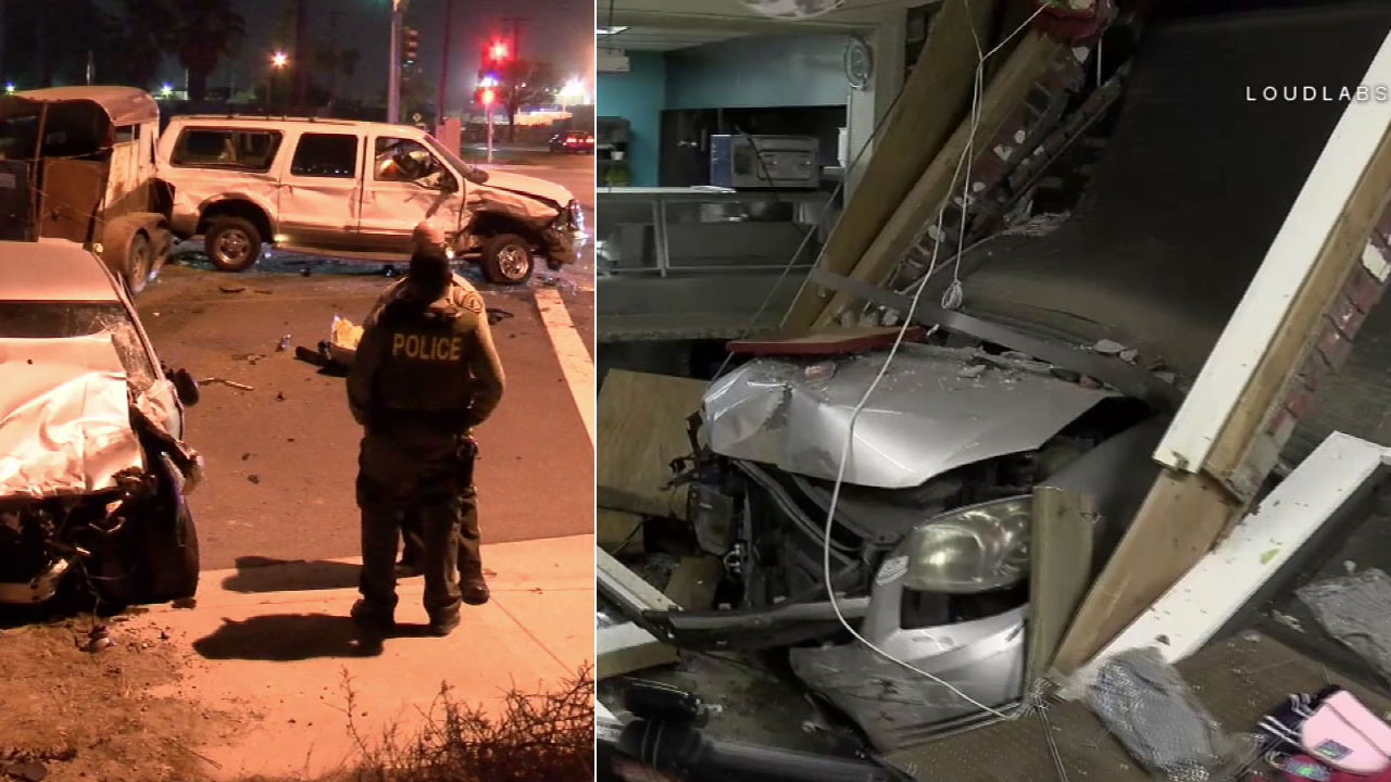 riverside street takeover ends with multiple cars crashing | abc7