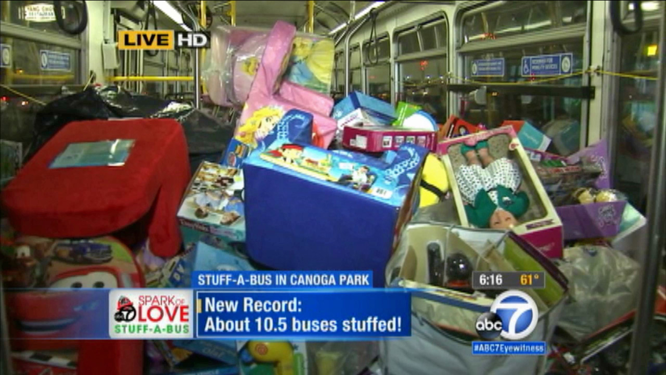 Thank you to the hundreds of very generous donors who came out to our Stuff-a-Bus toy drive in Canoga Park. We stuffed a record 10 1/2 buses!
