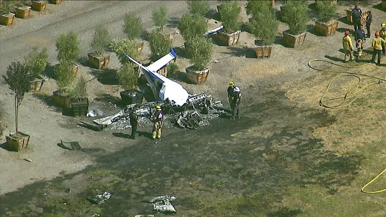 A small plane crashed near Brackett Field Airport in La Verne on Monday, Oct. 1, 2018.