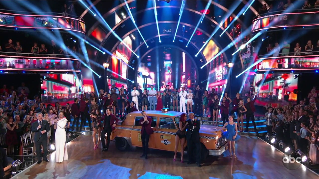 "The celebrities and pro dancers of ""Dancing With the Stars"" came together for the opening number of the show in week two of the season."