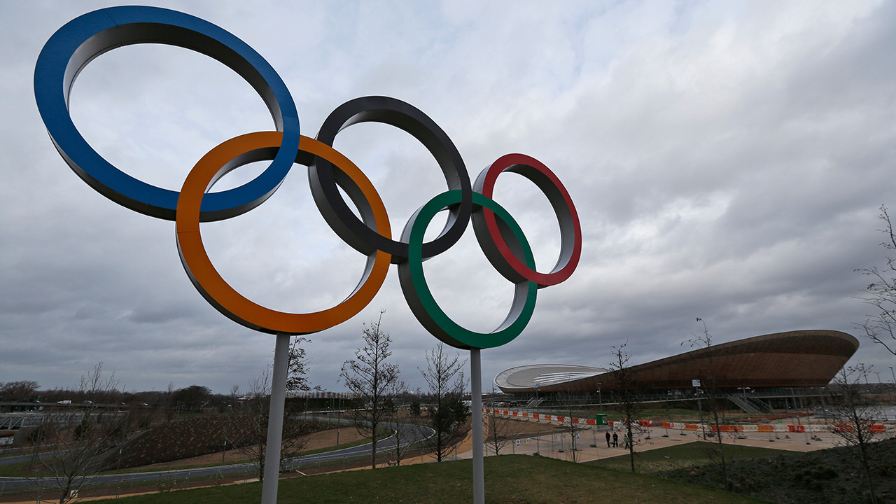 The Olympic Rings are seen back dropped by the Velodrome in the Queen Elizabeth Olympic Park in east London on Feb. 23, 2014.