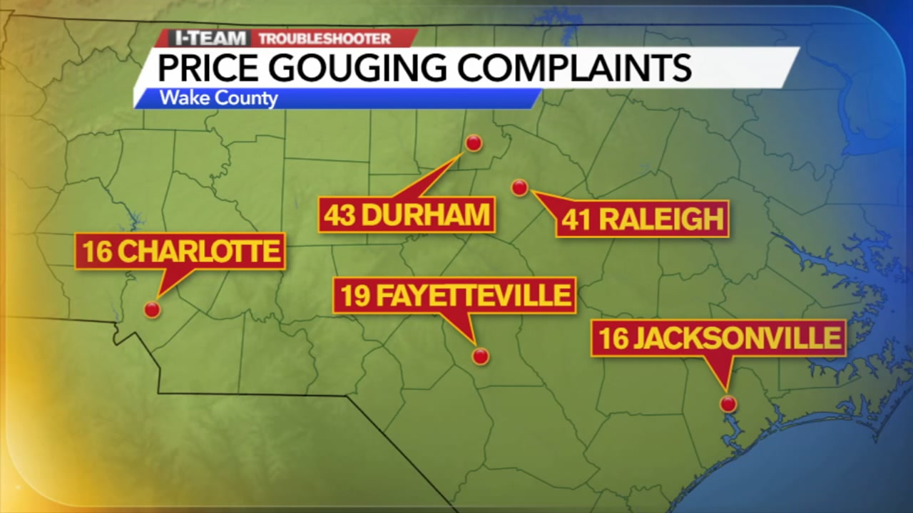 Price gouging complaints by city
