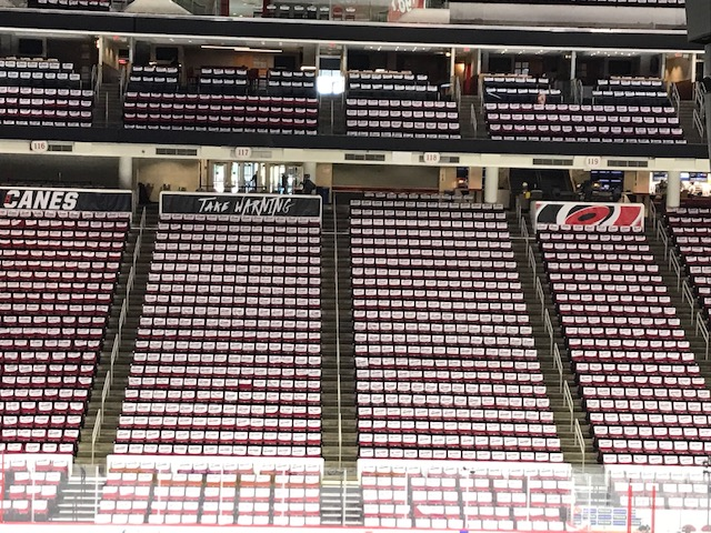 """<div class=""""meta image-caption""""><div class=""""origin-logo origin-image wtvd""""><span>WTVD</span></div><span class=""""caption-text"""">The calm before the storm: PNC Arena is outfitted for the Carolina Hurricanes' opening night. (Charlie Mickens)</span></div>"""