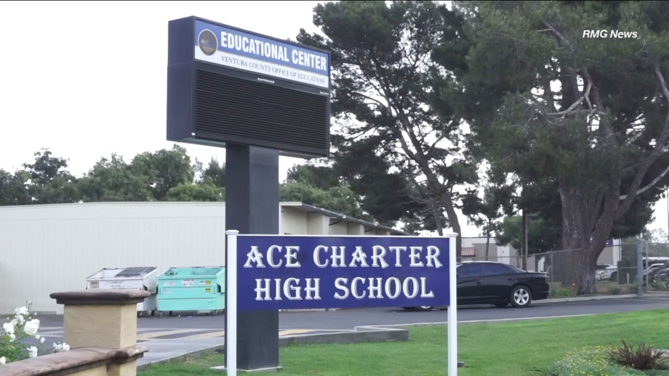 Ace Charter High School in Camarillo. The school was evacuated due to the accidental release of pepper spray on campus Thursday, Oct. 4, 2018.