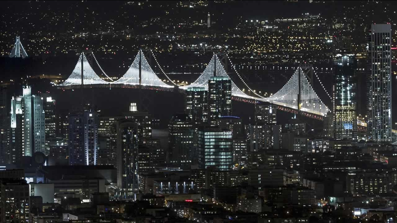 This image provided by James Ewing via the Cultural Landscape Foundation shows the San Francisco-Oakland Bay bridge. (AP Photo/James Eqing via the cultural Landscape Foundation)