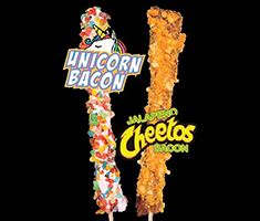 <div class='meta'><div class='origin-logo' data-origin='none'></div><span class='caption-text' data-credit='Credit: NC State Fair'>Bubba's Bacon: Unicorn Bacon -- Bacon-on-a-Stick dipped in glaze and rolled in fruity pebbles cereal.</span></div>