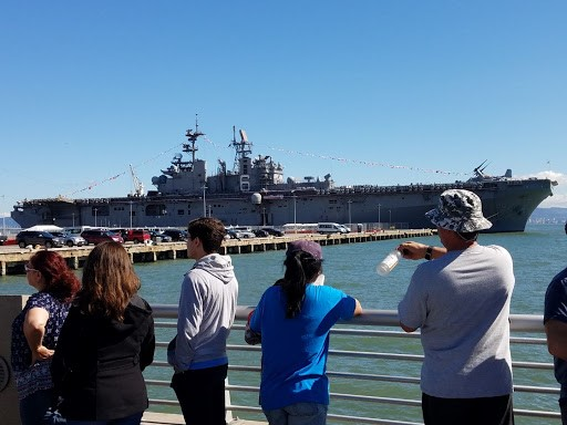 "<div class=""meta image-caption""><div class=""origin-logo origin-image none""><span>none</span></div><span class=""caption-text"">The USS Bonhomme Richard is seen on San Francisco Bay on Saturday, October 6, 2018. (KGO-TV)</span></div>"